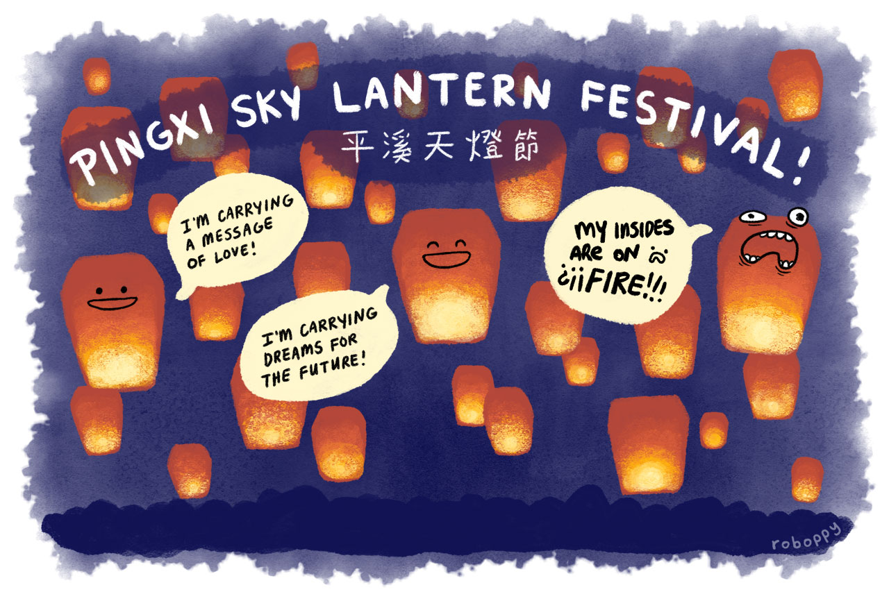 The Pingxi Sky Lantern Festival, celebrating Chinese New Year in the valley of the BURNING SKYYYY