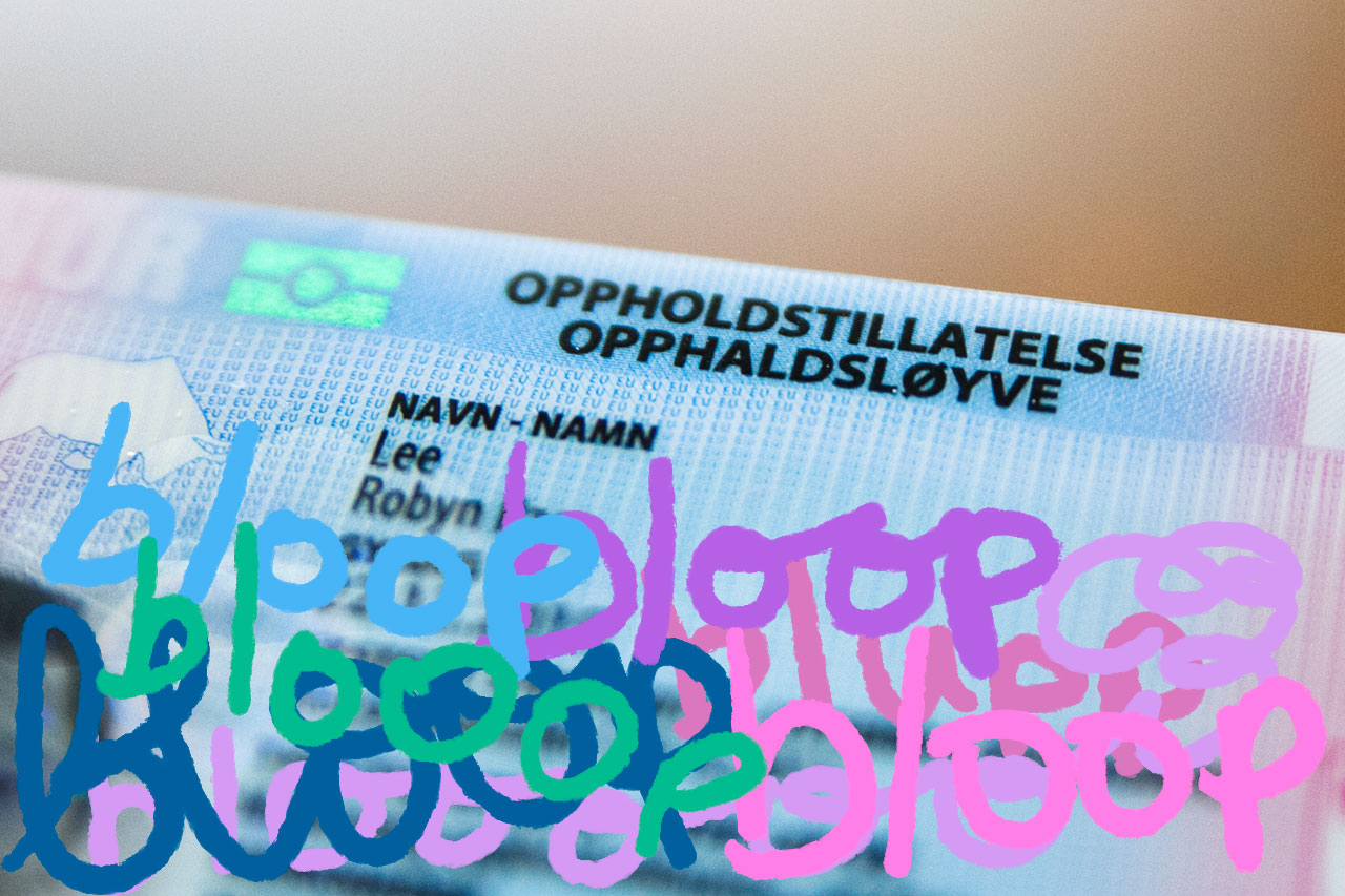 Norwegian residence card with extra bloops