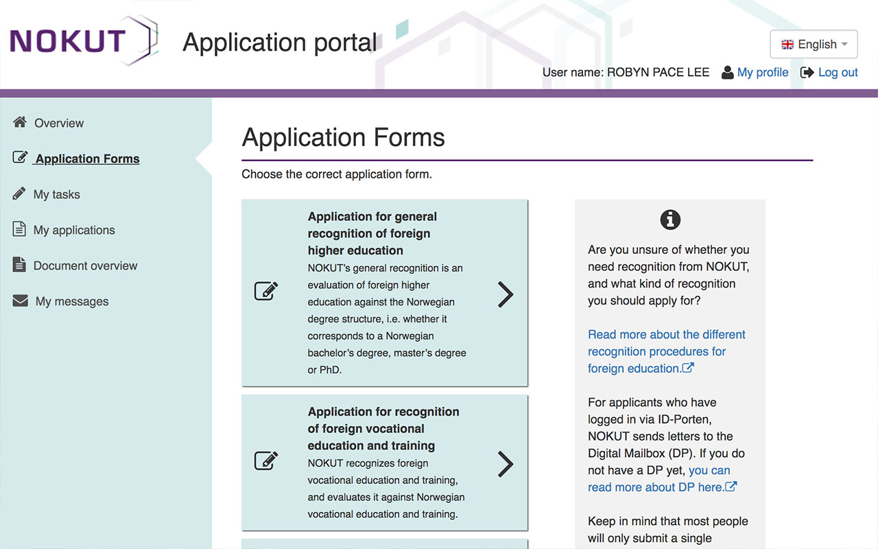 Nokut application portal
