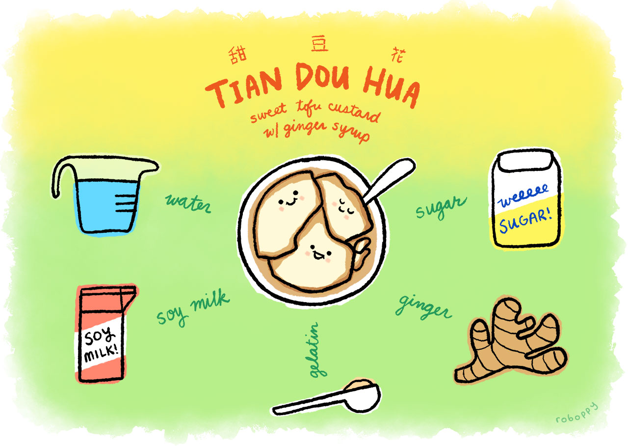 How to make tian dou hua (甜豆花), sweet tofu custard with ginger syrup
